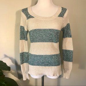 Roxy 100% Cotton Blue Cream Striped Sweater S